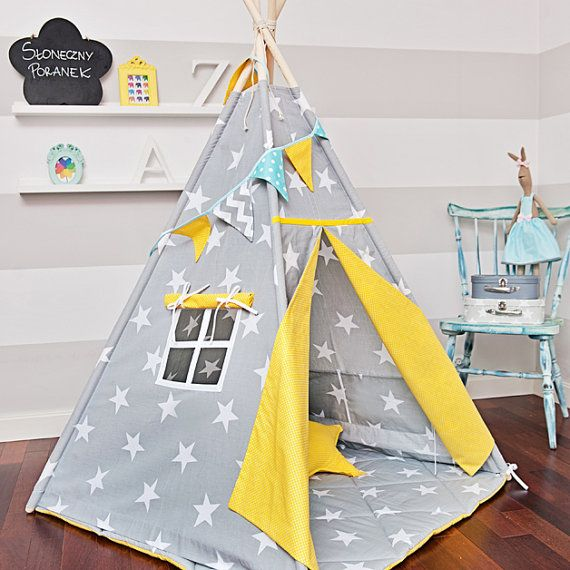 Large Set of Teepee Kids Play Tent Tipi - Sunny Morning