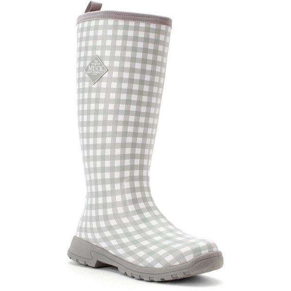 The Original Muck Boot Company Women's Breezy Tall Boots ($155) ❤ liked on Polyvore featuring shoes, boots, gray gingham, knee-high boots, tall rubber boots, grey knee high boots, grey boots, rain boots and knee high boots