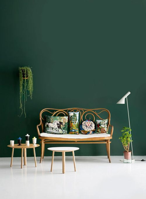 Forrest green accent walls.
