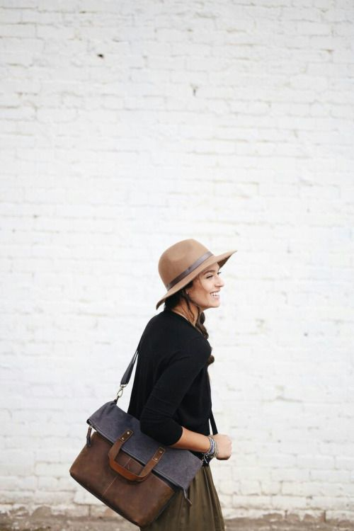 bag, hat, outfit, brick wall...all of it.
