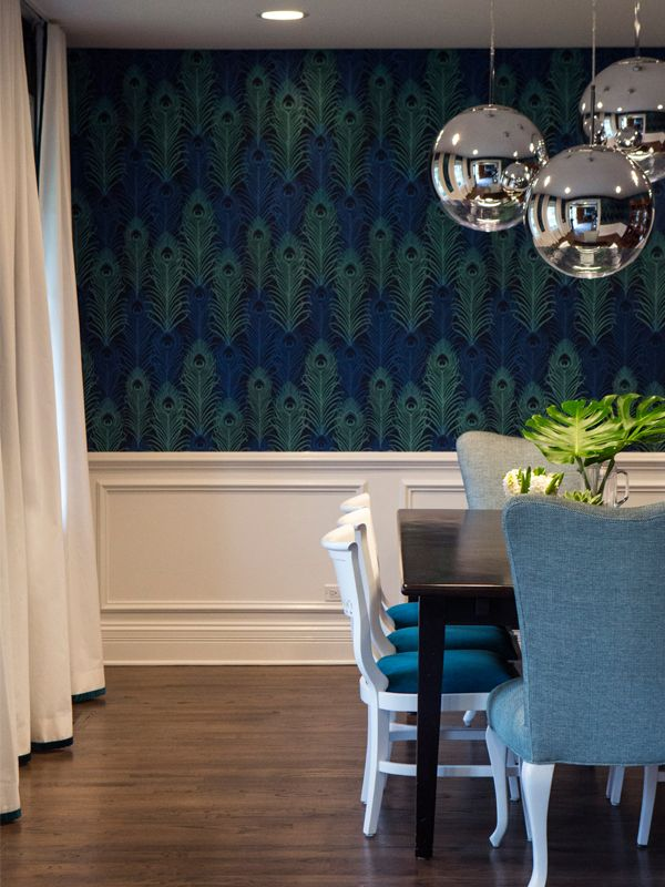 Best 25 peacock wallpaper ideas on pinterest for Peacock dining room ideas