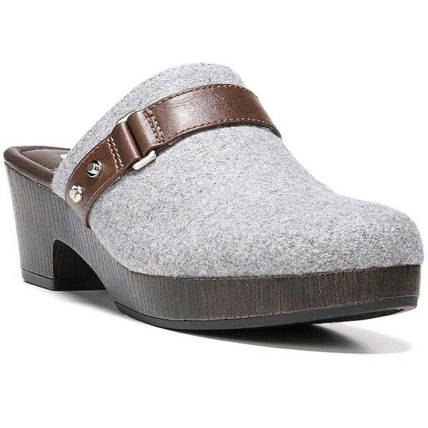 Dr. Scholl's Jessa Women's Clogs ($65) ❤ liked on Polyvore featuring shoes, clogs, grey, round toe shoes, slip-on shoes, grey shoes, fleece-lined shoes and backless shoes