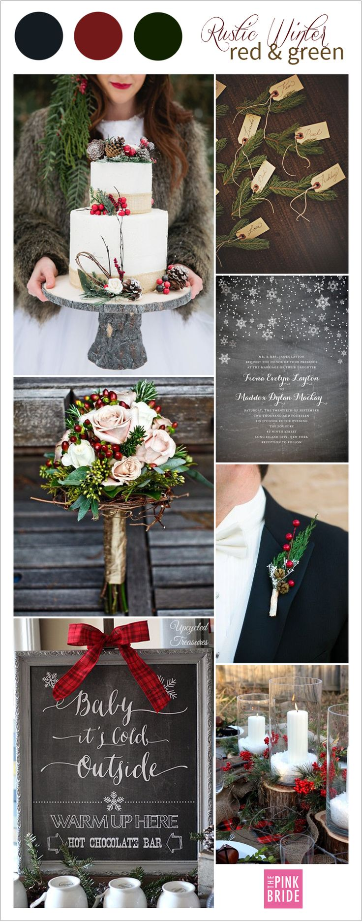 Rustic winter wedding color palette inspiration board in holiday red and green | The Pink Bride www.thepinkbride.com