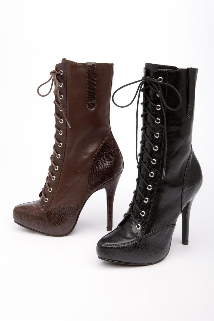 High Heeled Lace Up Shoe Boots