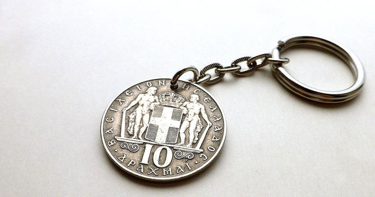 Greek, Keychain, Coin charm, Coin, Greek charm, Coin keychain, Mens gift, Mens accessory, Vintage coin, Vintage charm, Charm, Upcycled, 1968 by CoinStories on Etsy