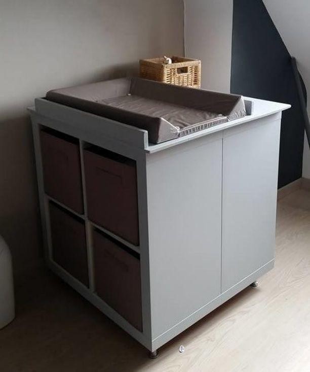 Un meuble à langer avec du rangement #ikea #KALLAX