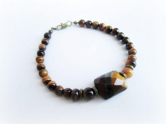 Mens tiger eye stone beaded bracelet mens by Bravemenjewelry