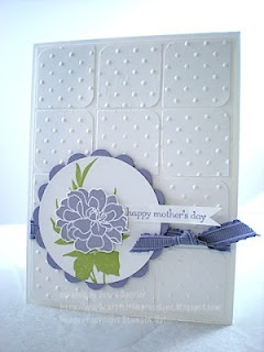 Stampin' Up! SU by Debra Currier, ARTfelt ImpressionsCards Ideas, Fabulous Florets, Embossing Squares, Handmade Cards, Artfelt Impressions, Mojo 238, Mothers Day Cards, Embossing Backgrounds, Purple Flower