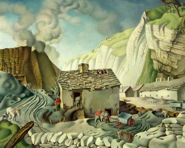 Burning Limestone by Harry Epworth Allen    Tempera on paper, 46.5 x 58.3 cm Collection: Newport Museum and Art Gallery