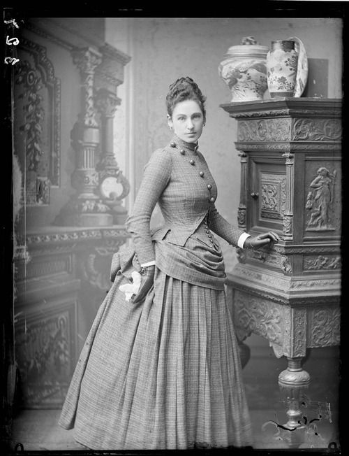 Beautiful asymmetry and a subtle plaid.    Unknown woman, c. 1880s.    via OldRags