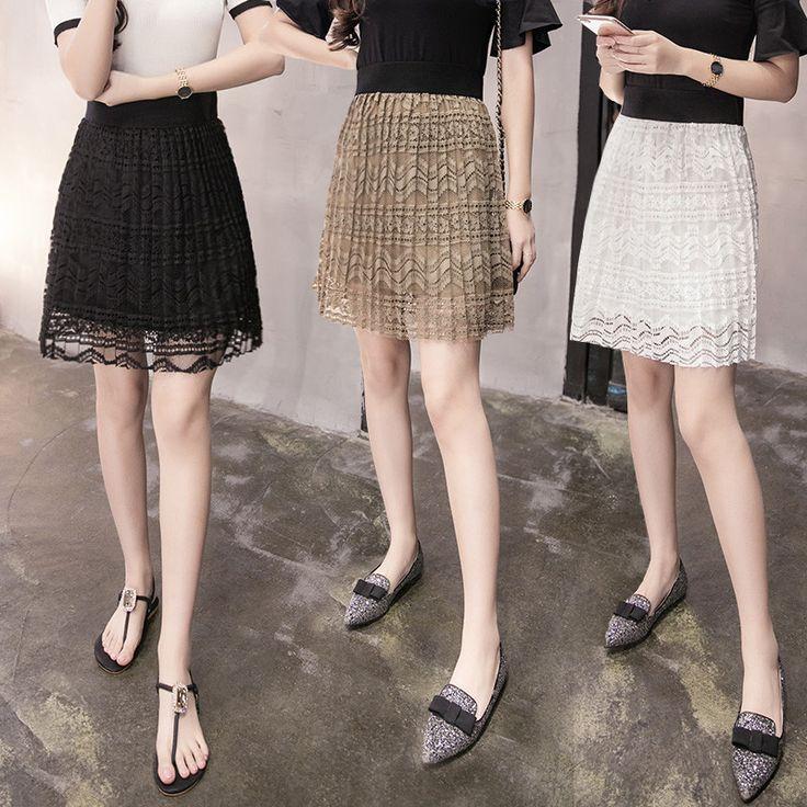 2017 Nuevo Estilo de Verano de Las Mujeres Mini Falda de Encaje Una Línea de Moda Femenina Falda de Cintura Alta Faldas Plisadas Falda Mujeres de Talla grande en Faldas de Ropa y Accesorios de las mujeres en AliExpress.com | Alibaba Group