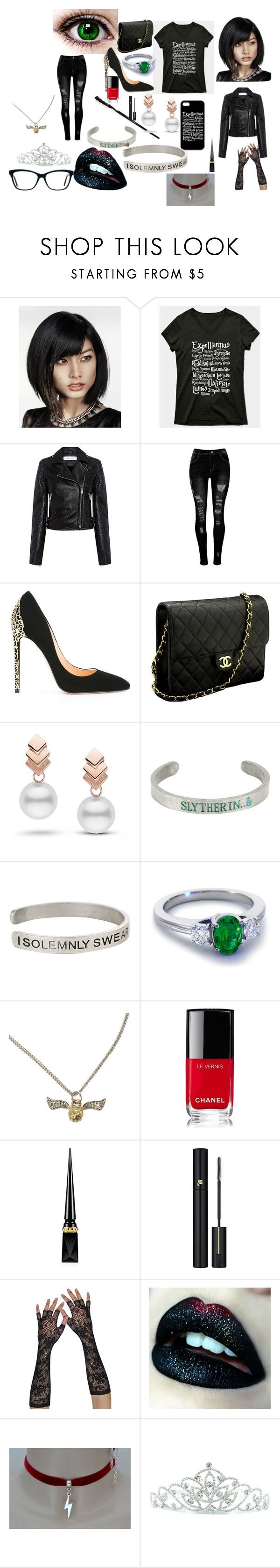 """Ella Potter"" by luna-cxxi on Polyvore featuring IRO, Cerasella Milano, Chanel, Escalier, Warner Bros., Blue Nile, Christian Louboutin, Lancôme and Kate Marie"