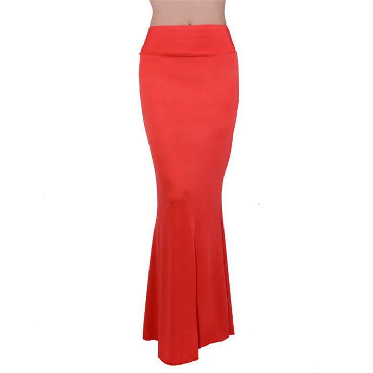 Юбки свободного покроя женщины высокой талией длинные американский одежды конфеты цвет оборками подол тонкий юбка карандаш чешские saia лонга купить на AliExpress
