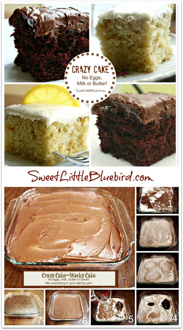 CRAZY CAKE, also known as Wacky Cake & Depression Cake- No Eggs, Milk, Butter,Bowls or Mixers!!! Super moist & delicious! Great activity to do with kids! Go to recipe for egg/dairy allergies. Recipe dates back to the Great Depression. It's darn good cake!  Favors:  Chocolate, Vanilla, Lemon and Coffee and Kahlua |  SweetLittleBluebird.com