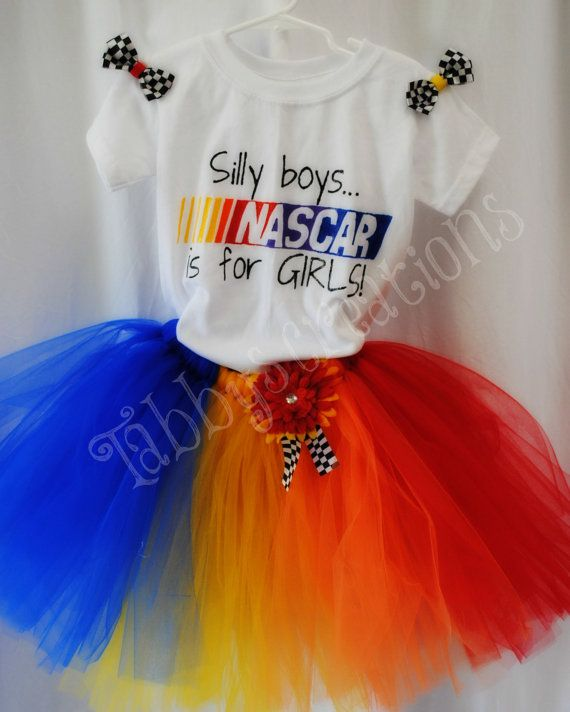 Nascar tutu, Hand painted tee & mini bows on Etsy, $27.99 . I know someone who needs this :)