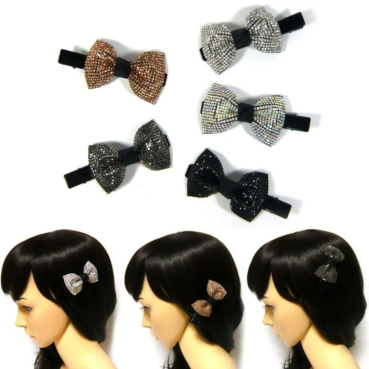 Cute Sparkle Crystal Rhinestone Bow Ribbon Knot Hair Jewelry Clip Pin Clamp Gift #Jacc #Clips #Party