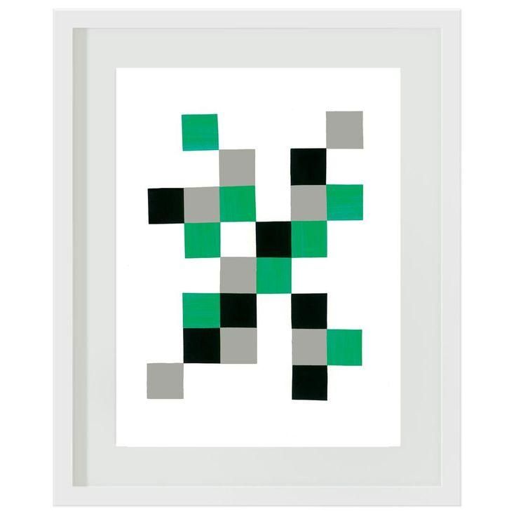 Green and Grey Blocks: #boys #green #grey #bedroom #decor #wallart #artprints #minecraft #blocks #squares