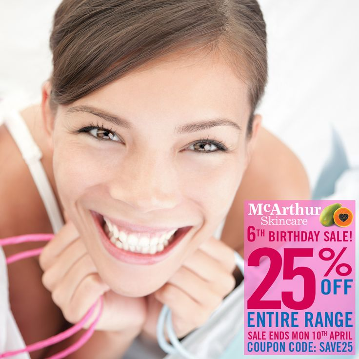 McArthur Skincare 6th Birthday 25% OFF Entire Range Sale   Save a massive 25% OFF the entire range of McArthur Skincare during our birthday week in our online store by using coupon code: SAVE25 at the final stage of the checkout.   Shop Now: http://mcarthurskincare.com/products/ Use Coupon Code: SAVE25