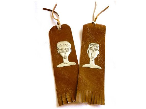 Leather Bookmark Tribal Heads by Loutul on Etsy, £6.50