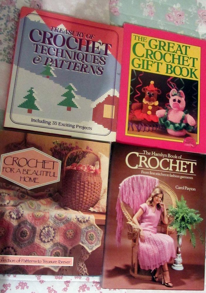 collection of vintage crochet hardback books loads patterns