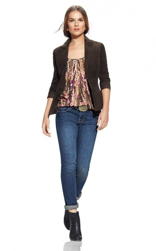 "Love the Trellis Cami from the Down to Earth group in CAbi's Fall '13 Collection. Top it with this chocolate Cord Blazer & be looking ""sweet""."