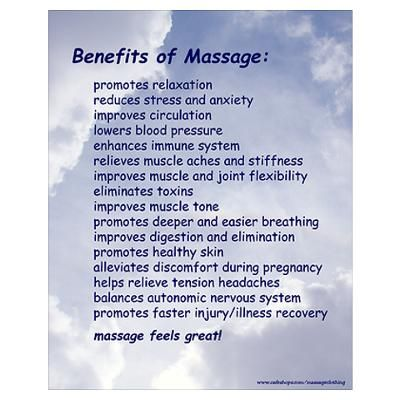 "massage pictures and quotes | CafePress > Wall Art > Posters > Benefits of Massage 16"" x 20"" Poster"