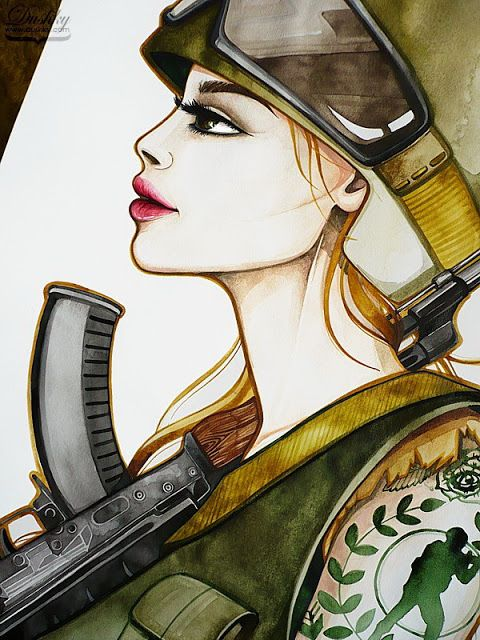 illustration by #dushky | #fashion #illustration #watercolor #gaming #videogames #counterstrie #soldier #army #military #tattoos #corphack #look #lips #girl #gun