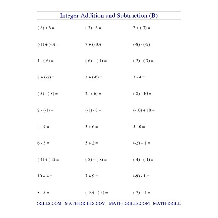 free worksheets on addition and subtraction of integers homework help subtracting integers. Black Bedroom Furniture Sets. Home Design Ideas