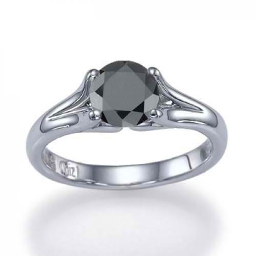 14k Black Diamond Ring Vincit Amor 038 Carat By Shireeodiz