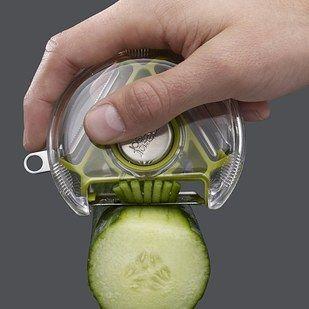 A rotary peeler with three different blade styles.