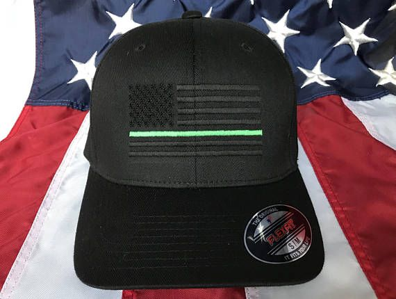 ec7cf4fc Blacked out Thin green line American flag embroidered hat (kelly ...