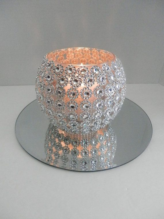 Wedding centerpiece , Bling wedding centerpiece with round mirror, Wedding decoration, Rhinestone vase, Bling candleholder and flower vase