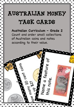 Australian Money Tasks Cards Higher Order Thinking - This resource contains 36 money task cards that require  grade 2 students to use high order thinking skills.Great for maths centres, maths rotations, partner work and as extension activities.Directly related to the Australian curriculum.You may also likeWanted Numbers