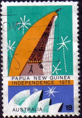 I ran across this stamp from Papua New Guinea Independence showing a stylized rendering of the Sydney Opera House in the lower portion.