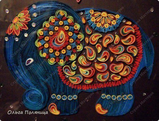 Картина панно рисунок Квиллинг Индийский слон Бумага фото 2