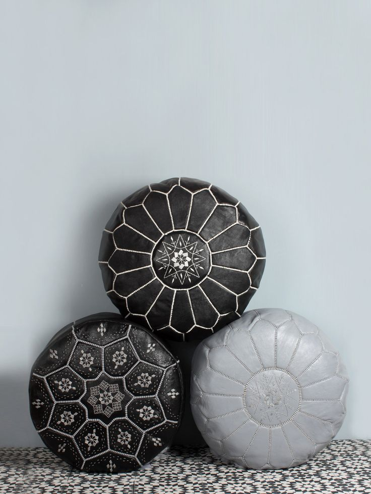 Monochrome | Moroccan Leather Pouffes http://www.bohemiadesign.co.uk/interiors/moroccan-pouffes