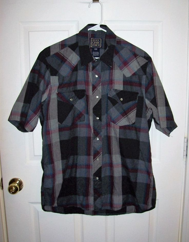 Vintage Men's Gray Plaid Snap Front Western Shirt by Rock Creek Ranch Large Only 7 USD by SusOriginals on Etsy