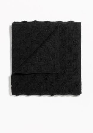 Tactile dot pattern brings volume and rich texture to this wool-cotton scarf knitted for an oversized look.