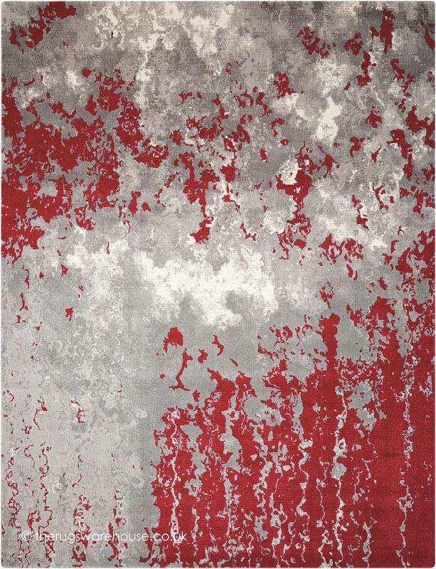 Twilight Chic Grey Red Rug, an abstract grey, cream & red modern rug machine-woven from viscose & wool yarn (2 sizes) http://www.therugswarehouse.co.uk/modern-rugs3/twilight-chic-rugs/twilight-chic-grey-red-rug.html … #rugs