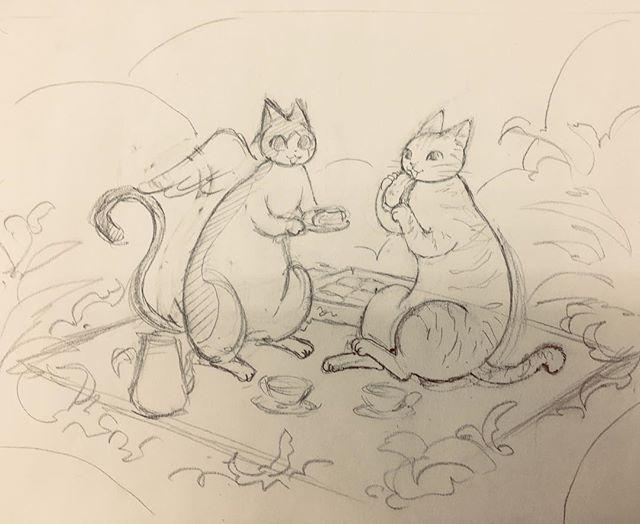 かぎしっぽのタマ、新しいお友達の絵を描き始めました( ´∀`)下絵できたけど仕事の締め切りが迫っているのでラインどりと着彩は少し先になりそうです。  #イラスト #illustration #art #ラフ #drawing #鉛筆 #かぎしっぽ のタマ #ピクニック #虹の橋の向こう #もとp  #猫 #cat #ねこfukudamotoko2017/11/11 17:49:51