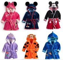 2015 новые девочки парни Meninas Meninos 1 шт. с капюшоном мультфильм пижамы мультфильм халаты одеяние-дети мягкой банные халаты(China (Mainland))