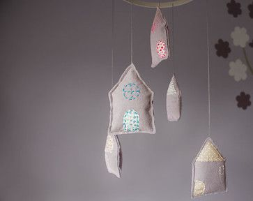 Felt Nursery Mobile, Pastel Houses By Pretty Plush - eclectic - Mobiles - Etsy