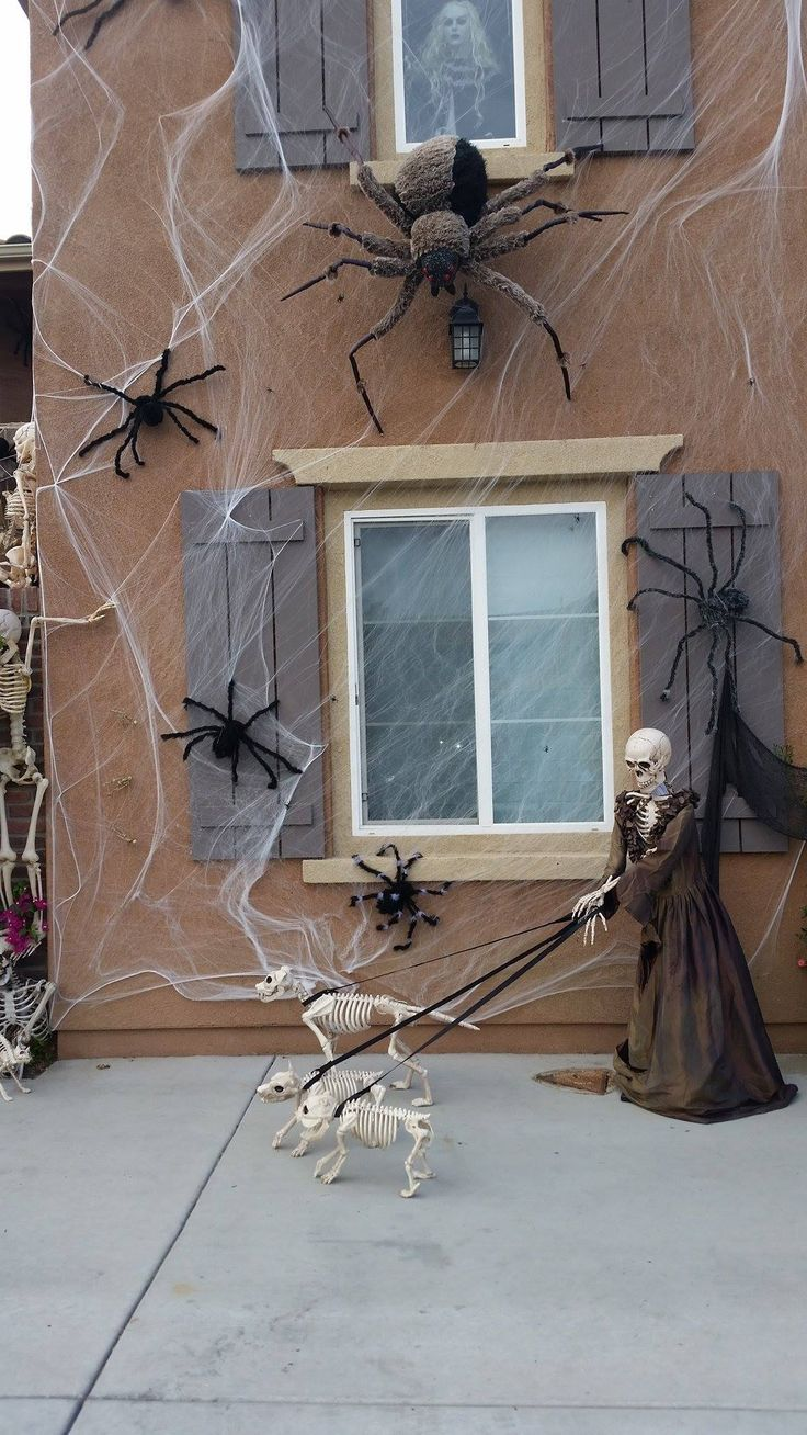ghost in the window, skeleton dog, spider exterior halloween decorations