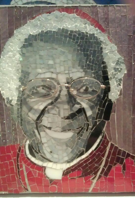 Desmond Tutu mosaic by a friend.