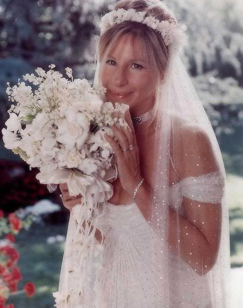 Barbra Streisand on her wedding day to James Brolin