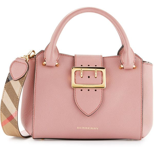 Burberry Buckle Small Leather Tote Bag featuring polyvore, women's fashion, bags, handbags, tote bags, dusty pink, leather purses, handbags totes, zip tote, zippered tote bag and genuine leather tote
