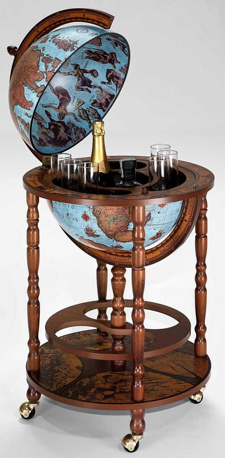 mobile stand bar globe with 16 blue color world globe