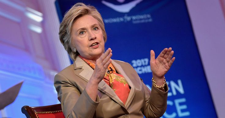 Hillary Clinton sharply questioned President Trump's conduct in office, criticizing his foreign policy pronouncements and penchant for posting on Twitter.