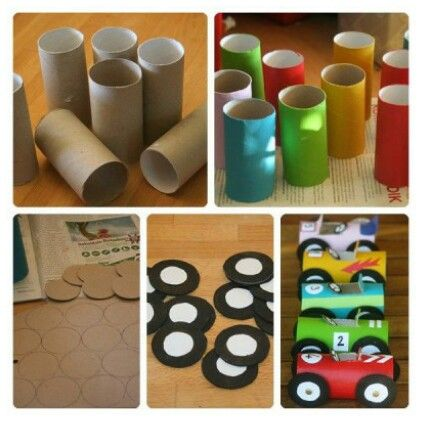 Cars from toilet paper roll
