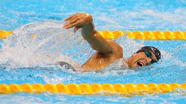 David Svoboda of Czech Republic competes in the Men's Modern Pentathlon. David Svoboda of Czech Republic competes in the Swimming 200m Freestyle event during the Men's Modern Pentathlon.